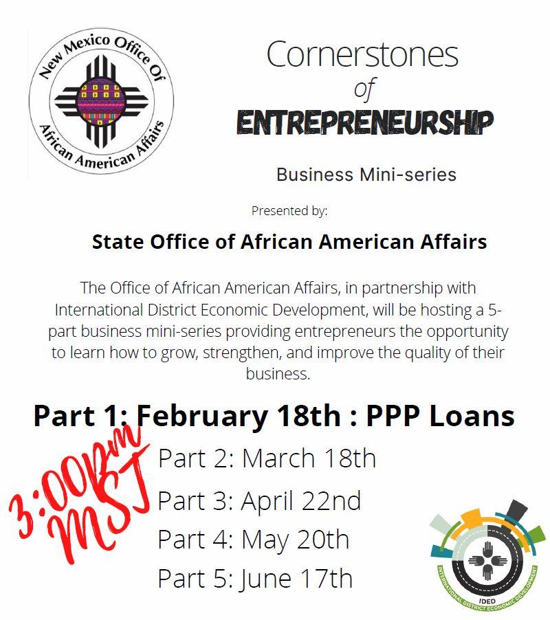 Cornerstones of Entrepreneurship Business mini Series Flyer Page