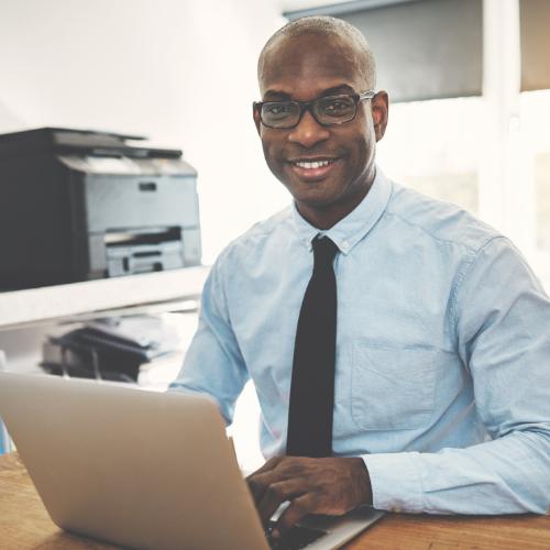 Black Entrepreneur at a computer
